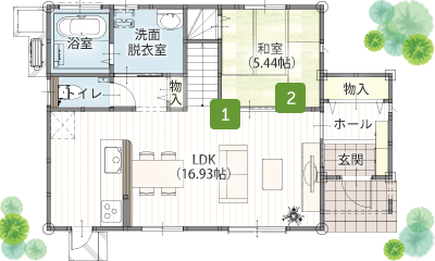 二階建て 34坪 4LDK 間取り 1階